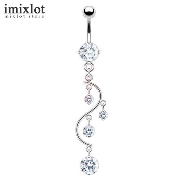 Water Drop CZ Piercings Jewelry Womens Sexy Belly Button Ring Long Dangle  Clear Navel Bar Silver Dangle Body Jewelry Piercing 782682a4d877
