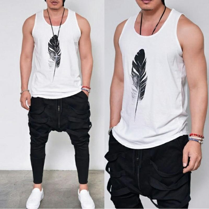 Hot Art Feather Print Casual T-Shirt Men O-Neck Tank Tops Boy Tee Shirt Fashion Sleeveless T-shirts For Male Clothing Plus Size