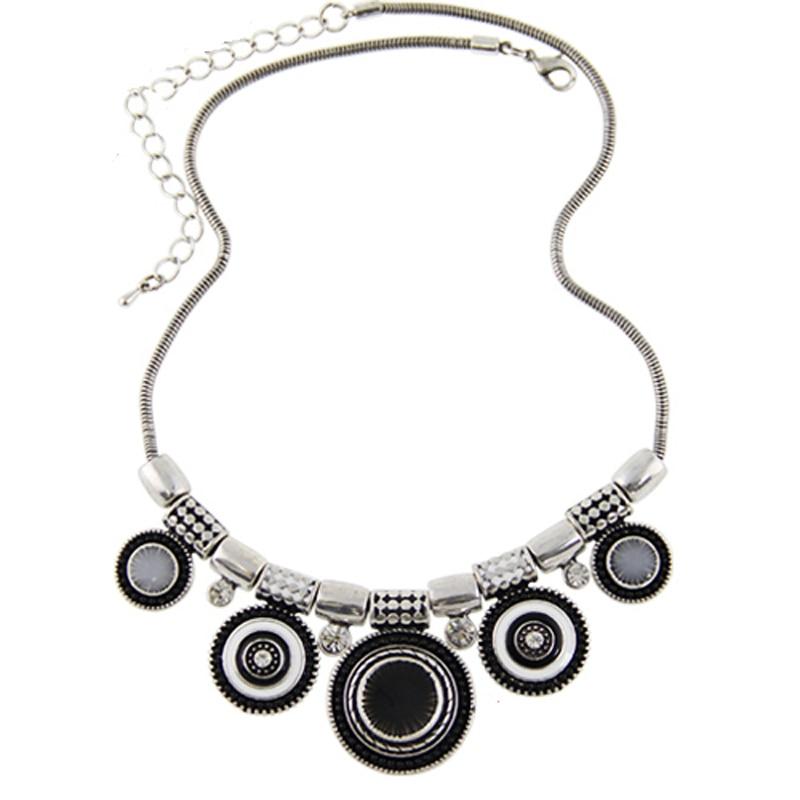 2018 New Choker nyaklánc divat etnikai kollázsok Vintage ezüst színű színes gyöngy medál nyilatkozat nyaklánc nők ékszerek  t