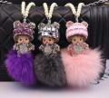 2017 new Pearl Crystal Monchichi Sleutelhanger Monchhichi Keychain real fur pom pom PomPom Key chain ring women Bag car pendant