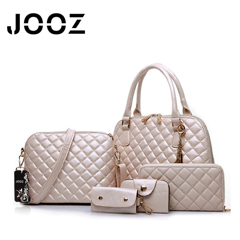 JOOZ Brand Luxury Solid Lattice PU Leather Handbag 5 Pcs Composite Bags Set Women Shoulder Crossbody