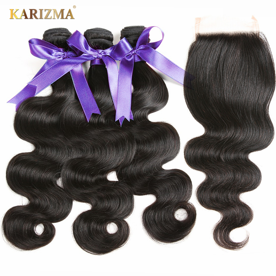 Karizma Hair 3 Bundles With Closure Peruvian Body Wave With Lace Closure Double Weft Non Remy