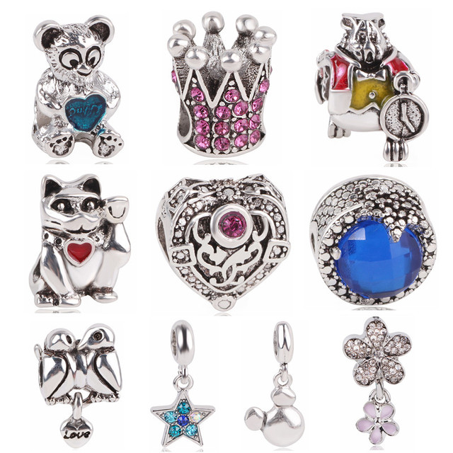 e92646960 AIFEILI 2018 New Charm European Vintage Star Crown Bear Bird Flower Bag  Beads For Pandora Women Bracelet & Bangle DIY Jewelry