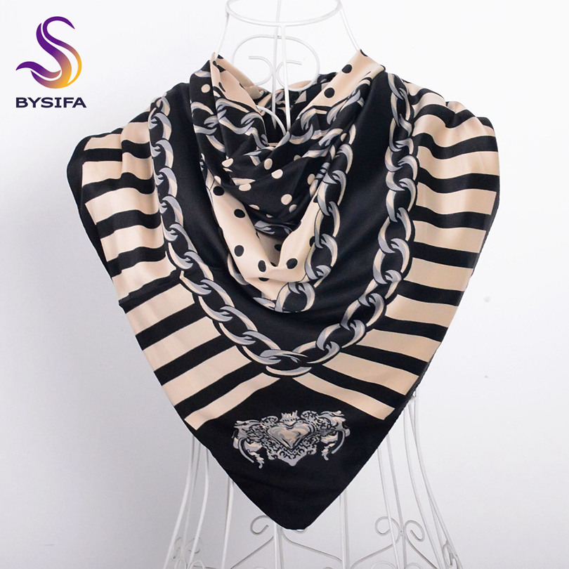 [BYSIFA] Black Beige Turkey Women Head   Scarf   Spring Autumn Ladies Square   Scarves     Wraps   100*100cm Striped Dot Silk   Scarf   Shawl