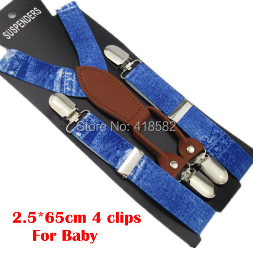 BD036-S Size New Kids Imitation Cowboy Print Suspenders 2.5*65 CM 4 Clips Baby Leather Suspenders For 2-8 Years Boys And Girls