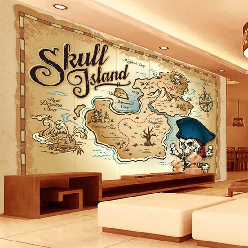 Us 825 58 Offeuropean Style Pirate Treasure Map 3d Photo Wallpaper Restaurant Living Room Tv Sofa Backdrop Wall Mural Custom Modern Wallpaper In