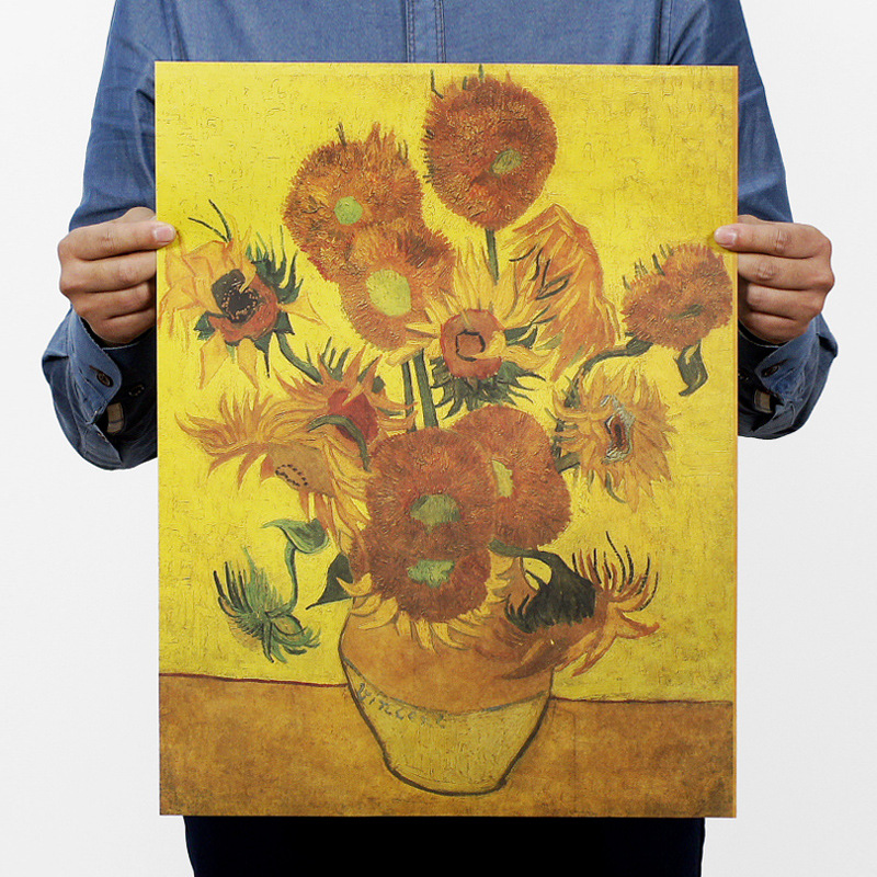 2017 New 42x30cm Van Gogh Nanaimo Painting Collection Vincent Sunflowers Museum The Starry Night Kraft Paper Poster In Wall Stickers From Home