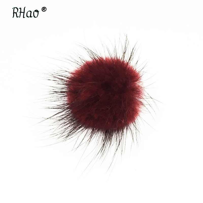 RHao pria setelan Syal pakaian perhiasan aksesoris pernikahan bros lucu bola pin merah mink hairball kecil bros pins untuk wanita