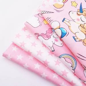 Various Sizes By Meters Cotton Twill Quilting Fabric Pink Series Star/Unicorn Printed Pure Cotton Patchwork DIY Sewing Material(China)