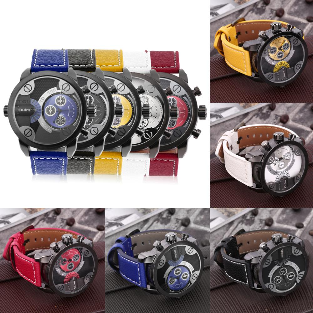 100% brand high quality Mens Stainless Steel Case Round Dial Dual Time Zones PU Leather Strap Quartz Wrist Watch