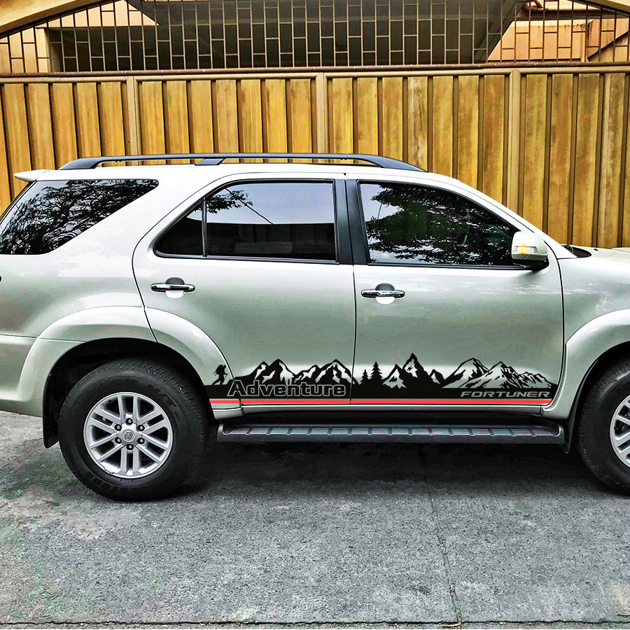 Free shippping 2 sides doors mountain adventure vinyl graphics stripe car sticker kit for toyota suv fortuner 20152016 decal