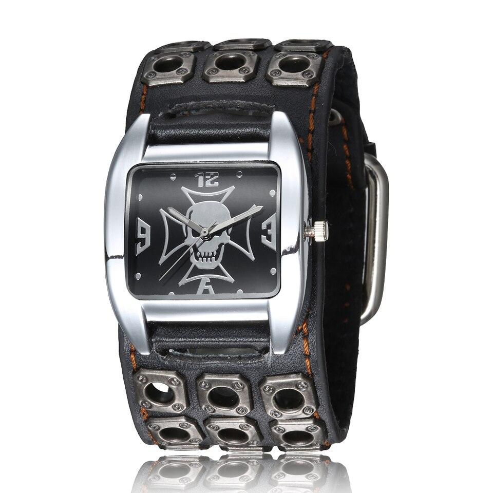 Cool Skull Men Watch For Men Fashion Rivet Skeleton Big Dial Men's Wrist Watches Punk Rock Singer Male Quartz Watch Wristwatch