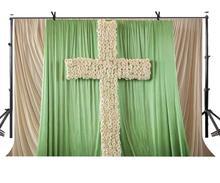 7x5ft Christian Wedding Backdrop White Rose Cross Photography Background Studio Props