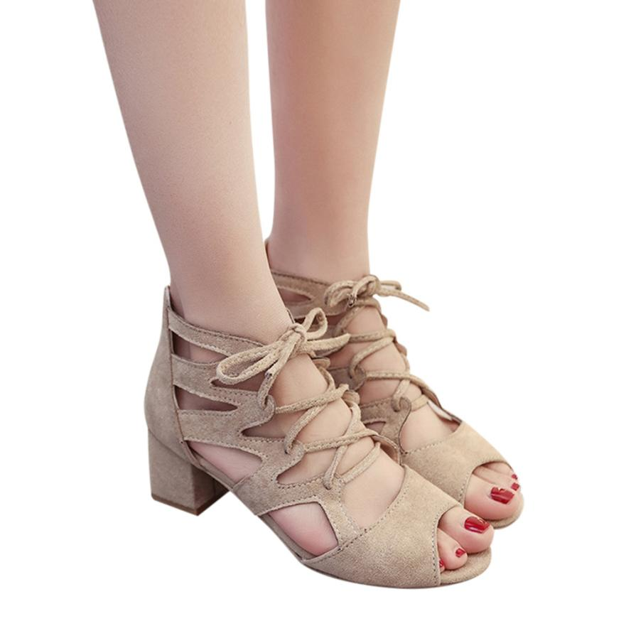 Ladies Sandals Shoes Heels-Block Square Open-Toe Ankle High-Heels Fashion Women Party
