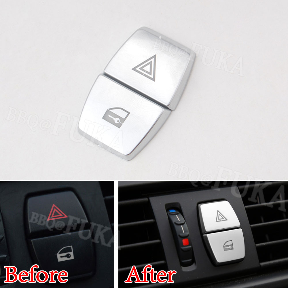 Car Warning Lamp Button Cover Trim emergency Light Button Cover Chrome ABS Decals For BMW 5 series GT F10 F07 2011-2017 chrome 3pcs interior head light lamp switch button cover trim for bmw 5 series f10 2011 2012 2013 2014 car styling