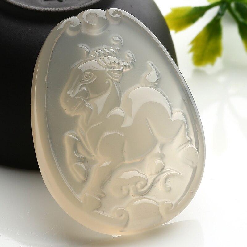 Free shipping Rat ox tiger rabbit snake horses sheep natural chalcedony zodiac pendant Gratis collocation necklace