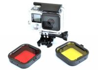 Purple Red Gray Yellow filter 4pcs/lot Lens Filter Diving Filter Gopro HERO 3+ 4 Camera Housing Case Underwater Lens Converter 4