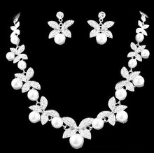 купить White/Red  Crystal Butterfly Design Earrings and Pearl Necklace Set,Silver Plated Bridal Wedding Jewelry Sets по цене 461.33 рублей