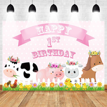 Mehofoto Farm Theme Happy 1st Birthday Photo Backdrop Animal Party Decoration Props Background Pink Wave Point Cow Pig