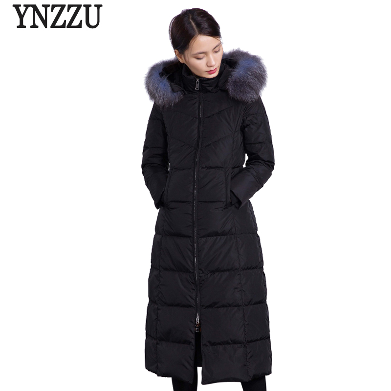High Quality Luxury Women's   Down   Jacket 2018 Winter Elegant Long Duck   Down     Coats   with Real Fur Hooded Warm Female Overcoat AO629