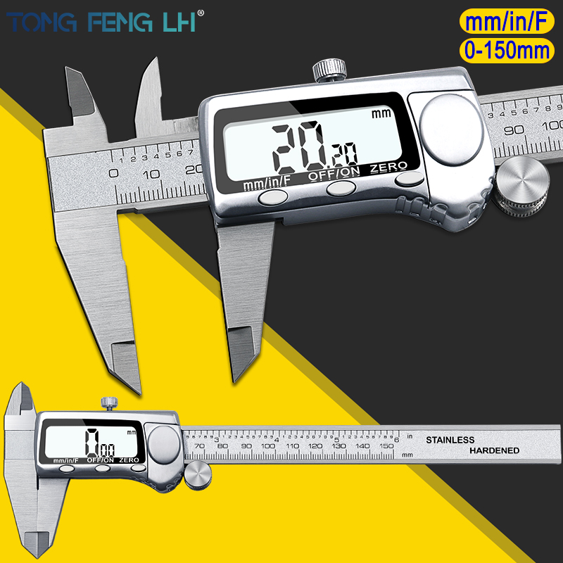 6inch Large LCD Digital Caliper 0-150mm Large Screen Electronic digital vernier caliper micrometer 150mm electronic digital caliper digital vernier caliper caliper free shipping 31080