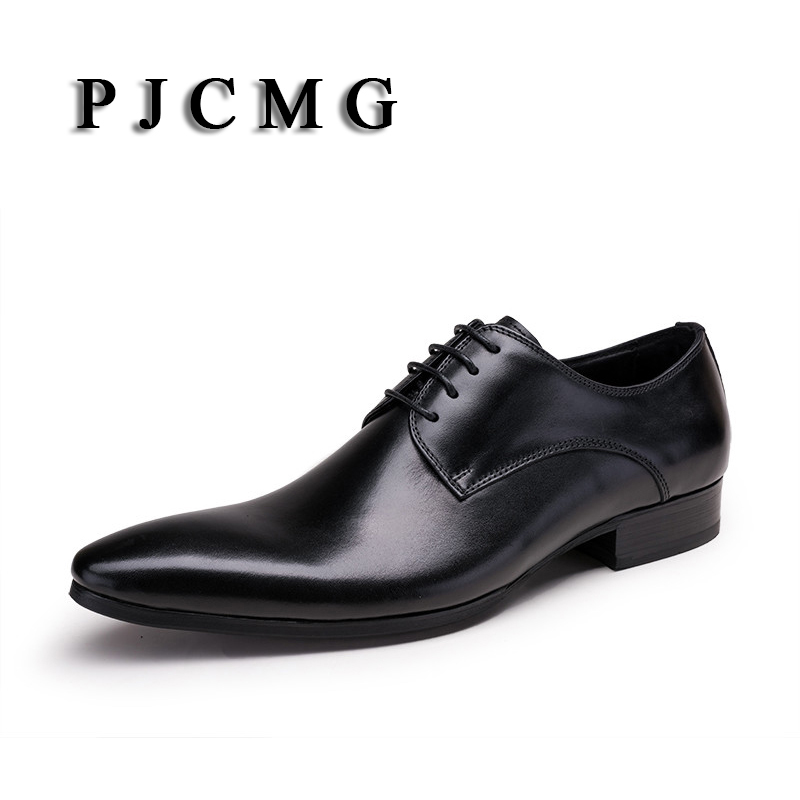 PJCMG Fashion Brown/Black Oxfords Mens Business Lace-Up Genuine Leather Pointed Toe Office Dress Formal Mens Sedding Shoes pjcmg high quality crocodile grain black wine red mens lace up dress genuine leather pointed toe business formal oxfords shoes