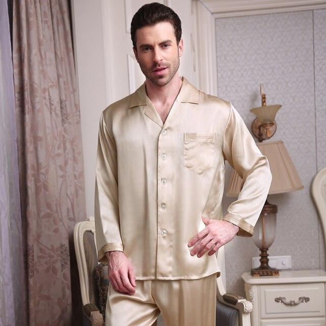 2017 Новый 100% Шелк Мужчины Пижамы Установить Пижамы мужские Пижамы Установить PJS Установить Пижамы Loungewear L, XL, 2XL