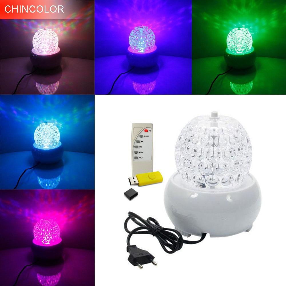 LED 3W peringkat cahaya Auto berputar dengan AC85-265V MP3 / Remote controller Crystal Disco Bola cahaya berwarna-warni untuk Bar Parti Perkahwinan DA