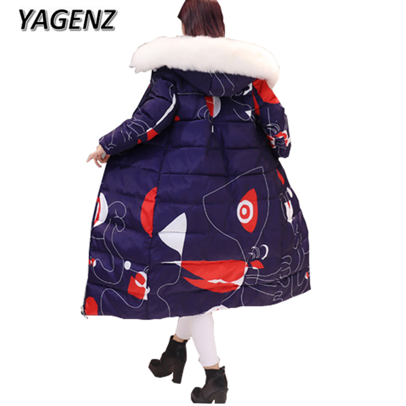 YAGENZ2017 Winter Jacket White Fur collar Hooded Women Clothing Loose Cotton Down Long Coat Warm Print Parkas Winter Coat Female yagenz 2017 down cotton winter parkas women jacket coats fashion slim big fur collar overcoat warm jacket female student coat
