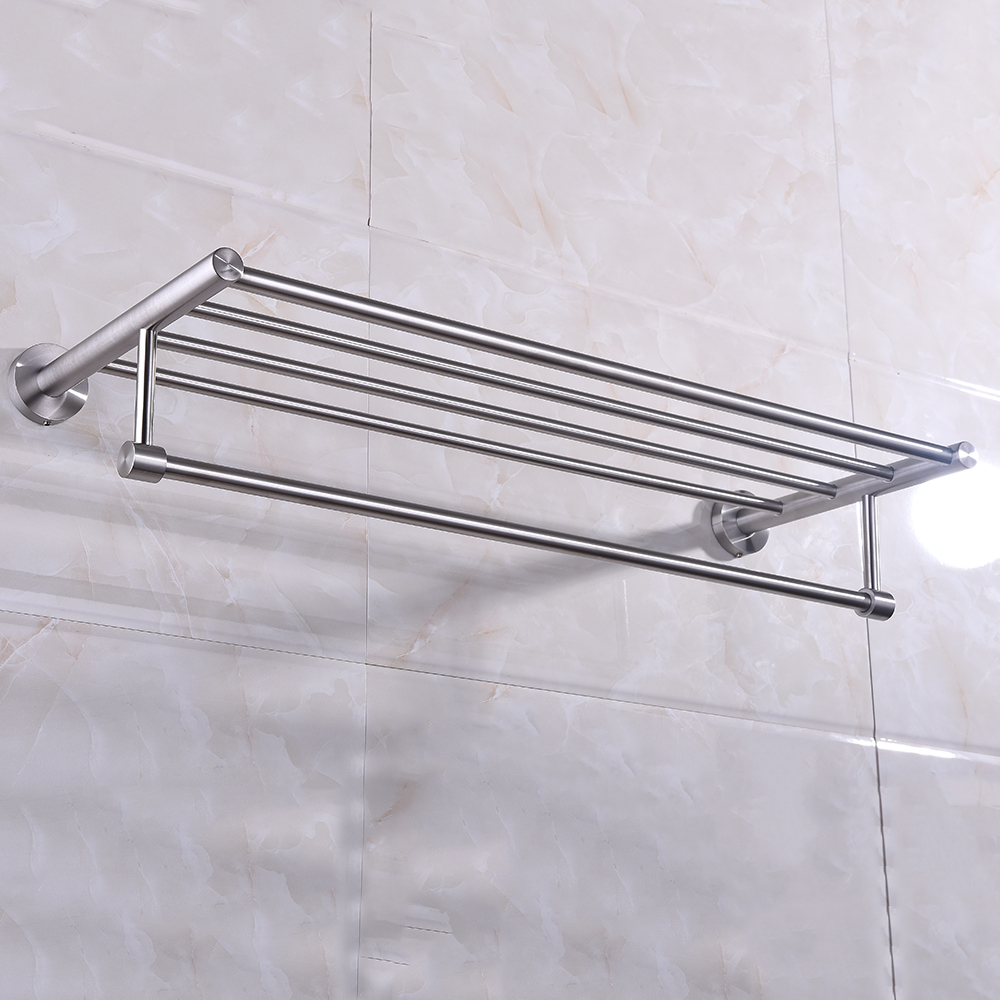 Wall mounted Towel Rack Brushed Stainless Steel Bathroom Bath Towel ...