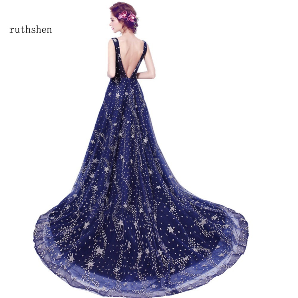 ruthshen 2018 Hot   Evening     Dresses   Long Backless Bling Bling Sequins Sexy Special Occasion   Dress   Women Formal Party Gown