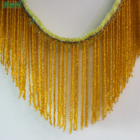YACKALASI Beaded Fringe Tassel Lace Crystal Beads Strings Latin Dress Dance Wear Macrame Trimming Tassel Gold