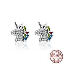 Cute Unicorn 925 Sterling Silver S925 Stud Earrings for Women Fashion Jewelry Korean 2019 New