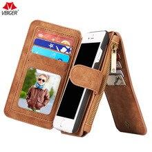 Фотография Vbiger Unisex Detachable iPhone 6/6S Wallet Case Multi-functional Zipper Wallet Removable Zipper Purse High Quality Men
