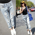 Women Denim Ripped Holes Harem Pants 2016 New Fashion Summer Slim Vintage Boyfriend Jeans For Female