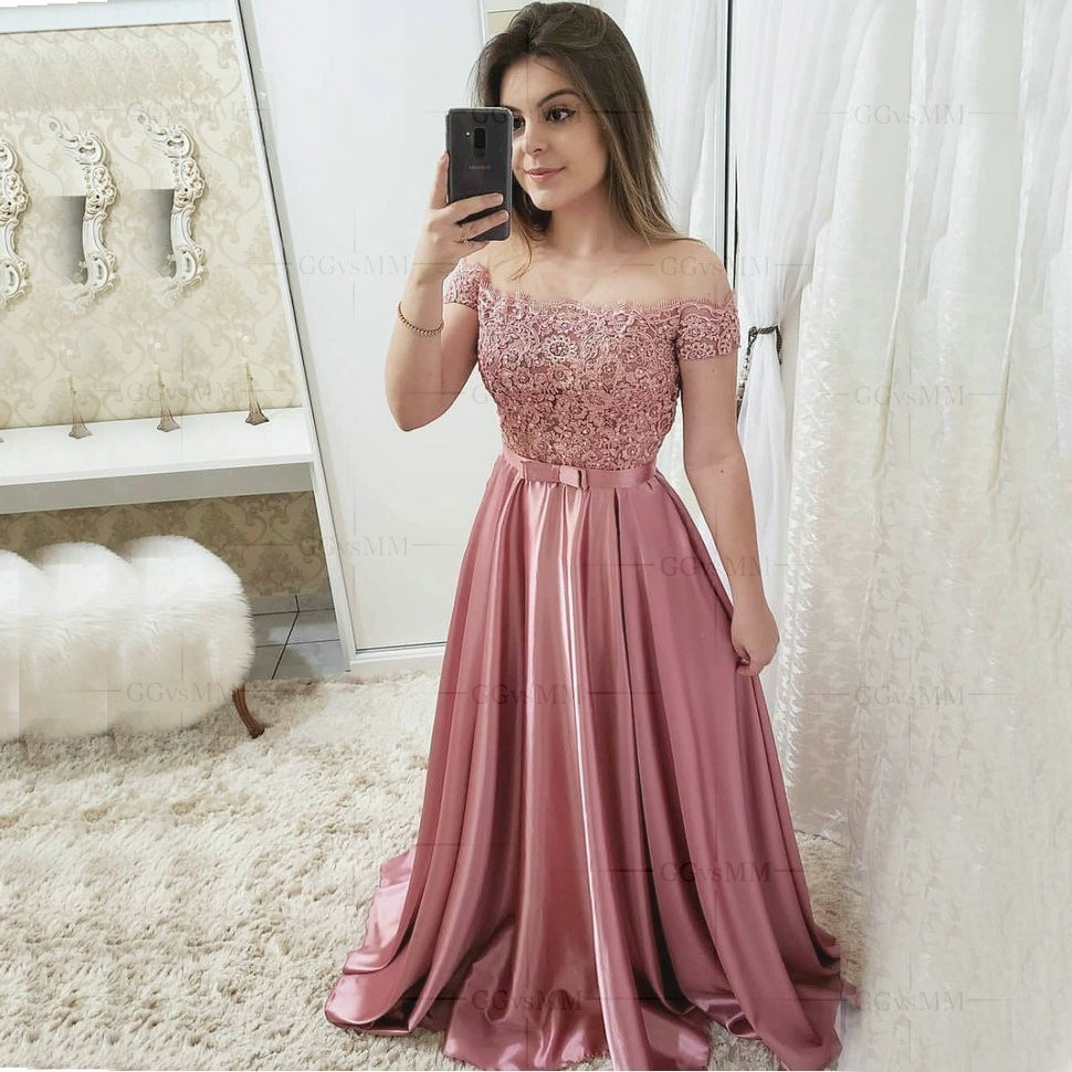 Elegant Hot Pink Satin A Line Prom Dresses Long Off Shoulder Women Party Formal Dress Evening Lace Appliques Beading Prom Gowns