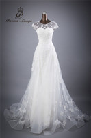 Real Photo Lace Flowers O Neck And Sexy Backless Sheath Wedding Dresses Vestidos De Noiva Robe