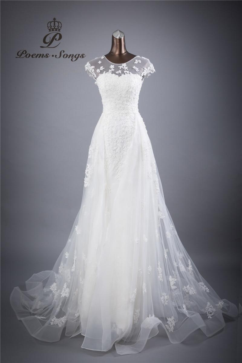 skutečné foto krajky květiny O_neck a Sexy Backless sheath Svatební šaty vestidos de noiva robe de mariage