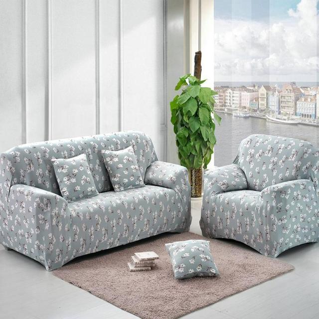 Sofa Cover Blue Flower Printed Slipcovers On The Universal Flexible Stretch Cushion Couch Loveseat Funiture