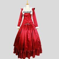 Хэллоуин готический, викторианской эпохи период вечернее платье в стиле Лолита осень красного цвета с длинным рукавом Rococo Маскарад танцев