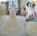 Beautiful long white/ivory 3 meters long lace edge bridal veils with free comb glamorous appliques wedding mantilla