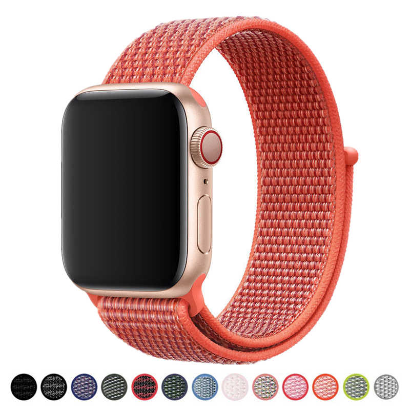 Sport Wristbands for Apple Watch Band 40mm 44mm Soft Breathable Nylon Loop Adjustable Wrist Strap for iWatch 4/3/2/1 38mm 42mm