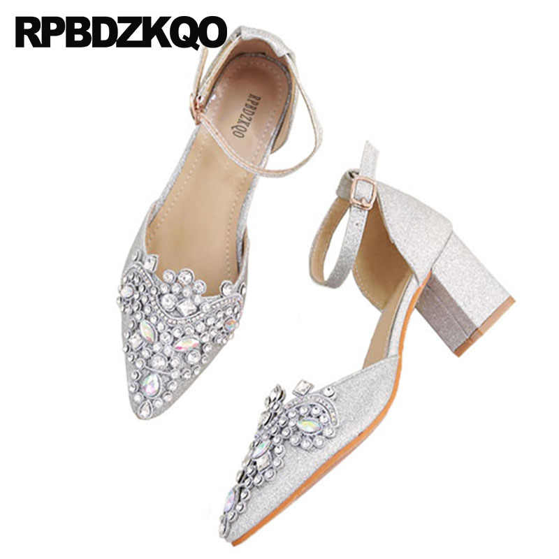 b2d41d09c4 big size ankle strap women sandals pointed toe 33 glitter thick ...