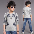 Boys Tees Long Sleeve Floral Print T-Shirts For Boys Children Blouses Spring Autumn Kids Tops 4 5 7 9 11 12 Years School Clothes