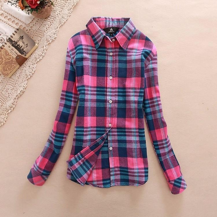 2017 hot sprzedaż jesień zima panie kobieta casual cotton lapel bluzka bluzki z długim rękawem kratę koszula kobiet szczupła odzieży wierzchniej clothing 10