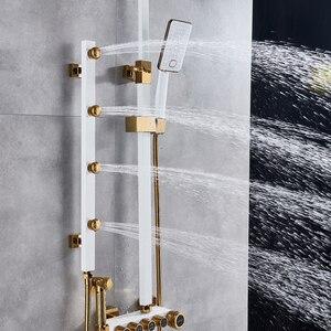 Image 2 - Złoto biała bateria natryskowa w prysznic ścienny System mieszający opady deszczu głowica prysznicowa korpus z mosiądzu strumień masujący prysznic zestaw Swive Spout
