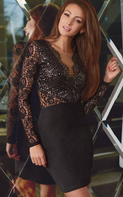 ab39f57abf Celeb Style Black Sheer Lace Sequin Bodycon Party Dress Women Sexy Deep V  Neck Long Sleeve Tunic Sheath Pencil Mini Dress R22440