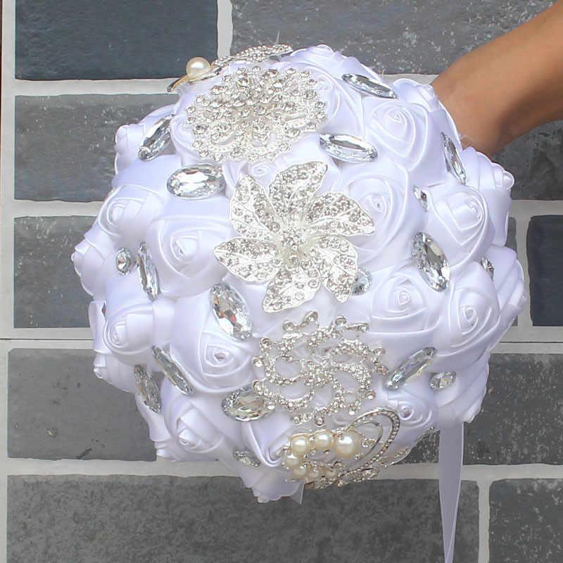 8 สไตล์ใหม่สีขาวแต่งงานเจ้าสาวถือดอกไม้ดอกไม้ประดิษฐ์ริบบิ้น Rhinestone เพิร์ลตกแต่งเจ้าสาวเจ้าบ่าวเต้นรำ