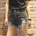 Nuevo 2017 Moda Remache Borla de La Vendimia de Las Mujeres Ripped Agujero Flojo de Talle alto Short Jeans Punk Sexy Mujer Pantalones Cortos de Mezclilla Caliente C166