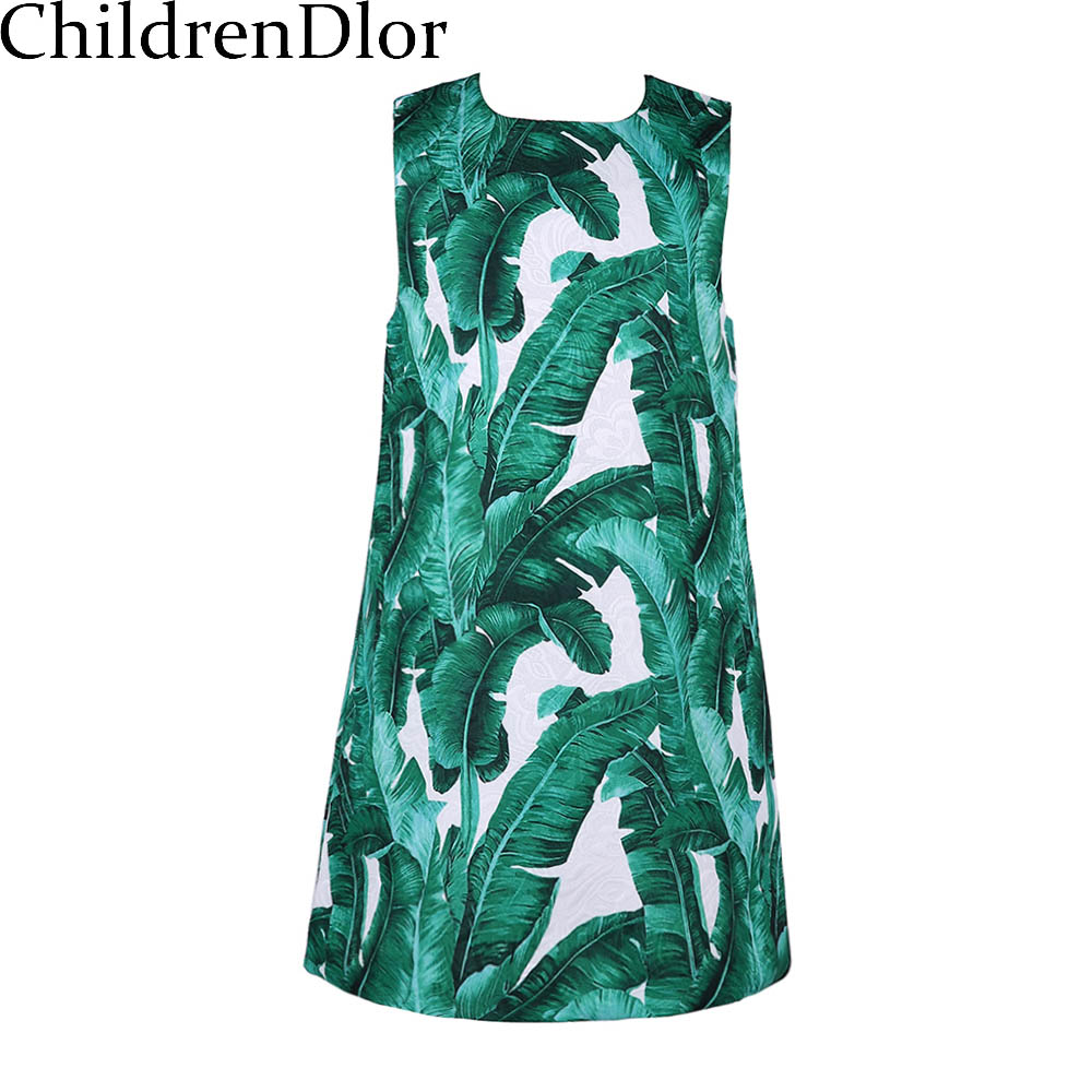 Brand Girl Dress 2016 Winter Toddler Dress Baby Girl Clothes A-line Dobby Kids Dresses for Girls Tropical Print Girls Dresses